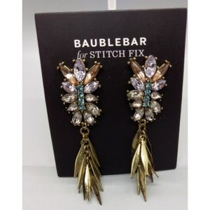 Sugarfix by Baublebar Tassel Drop Post Earrings Black with Clear Crystals Brass